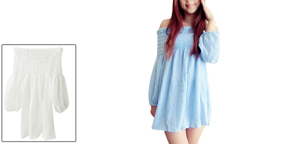 Woman Smock Elastic Off-Shoulder 3/4 Sleeve Light Blue Tunic Blouse XS