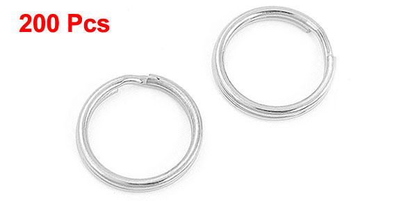 200 Pcs Silver Tone Glossy Metal Split Ring Keyring Holder 15mm
