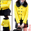 Ladies Pretty Yellow Double-Breasted Style Spliced Padded Jacket XS