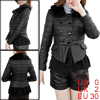 Double-Breasted Style Long Sleeve Black Padded Jacket for Lady XS