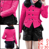Woman Double-Breasted Style Chiffon Splice Hem Fuchsia Padded Jacket XS