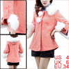 Women Hood Removerable Furry Collar 3/4 Sleeve Peacoat Salmon S