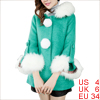 Women Pom Pom Fake Button 3/4 Sleeve Fashion Peacoat Turquoise S