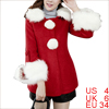 Women Hooded Snap Button Closure Two Pockets Design Peacoat Red S