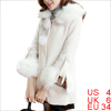 Women Removerable Furry Cuffs Snap Button Up Sweet NEW Peacoat Beige S