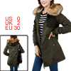 Ladies Army Green Knitted Detail Zip-Up Closure Padded Parka Jacket XS