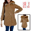 Woman Zip-Up Closure Knitted Patchwork Splice Khaki Padded Parka Jacket XS