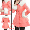 Women Single Breasted Long Sleeve Removerable Fur Peacoat Salmon XS