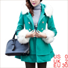 Women Button Closure Long Sleeve Bowtie Decor Back Peacoat Turquoise XS