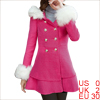 Women Furry Hood Single Breasted Button Decor Peacoat Fuchsia XS