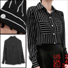 Women Black Stripes Long Sleeve Front Patch Pockets Casual Shirt XS