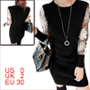 Lady Round Neck Crochet Design Sleeve Black White Knit Dress XS