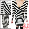 Lady Crossover V Neck Long Sleeve Stripes Pattern Black White Dress XS