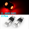 Pair Strob Flash Steady Bright Red T10 5-SMD 5050 ...