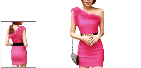 Lady One Shoulder Sexy Slim Concealed Zip Up Side Fuchsia Dress XS
