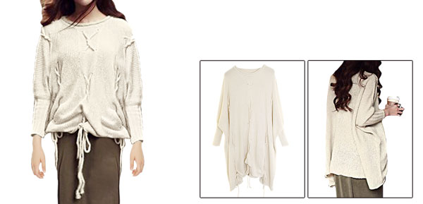 Lady Long Batwing Sleeve Pullover Drawstring Design Beige Sweater M