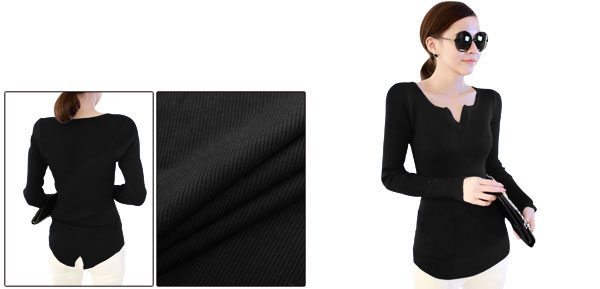 Lady Form-fitting Split Neck Long Sleeve Black Top Shirt XS