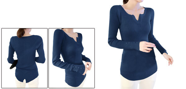 Lady Slim Split Neck Long Sleeve Navy Blue Top Shirt XS