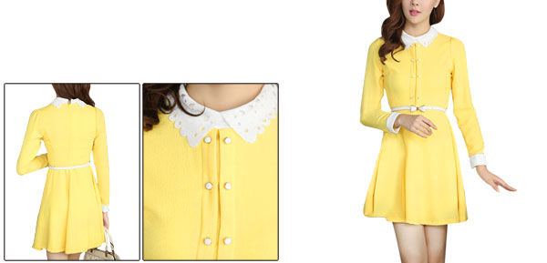 Women Yellow Ruched Shoulder Concealed Back Zipper Casual Dress XS
