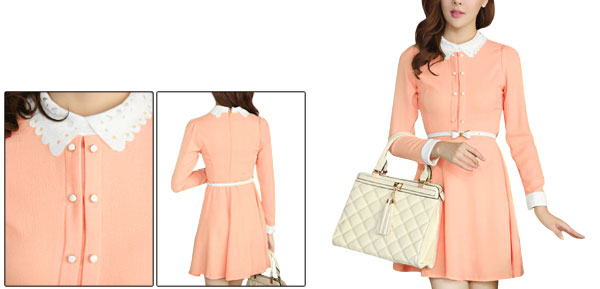 Pink Women Long Sleeved Concealed Back Zipper Casual Dress w Belt XS