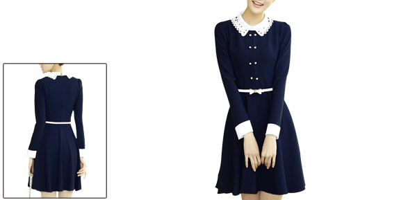 Women Dark Blue Hollow Out Collar Long Sleeve Dress w Belt XS