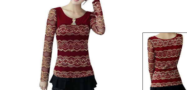 Women Pullover Round Neck Autumn Wearing NEW Lace Blouse Red Beige XS