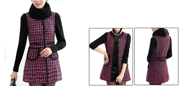 Women Button Closure Knitted Long Sleeve Two Pockets Coat Fuchsia Black XS