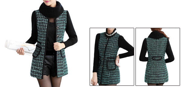 Women Round Neck Removerable Scarf Single Breasted Coat Aqua Black XS