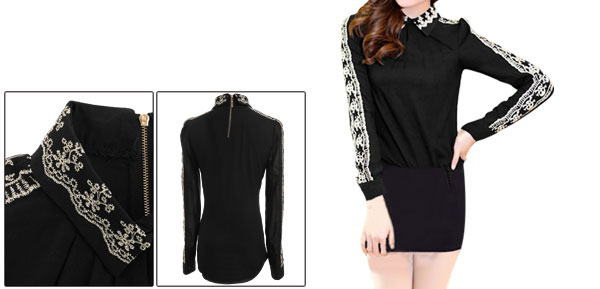 Ladies Chic Embroidered Skull Patchwork Splice Black Top Shirt XS