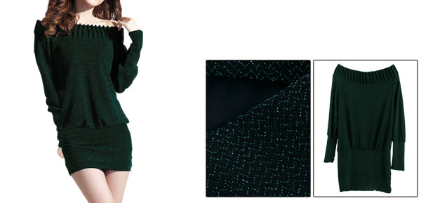 Lady Off Shoulder Long Sleeve Stretchy Pullover Green Dress S