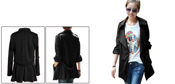 Lady Split Lapel Long Sleeve Snap Button Black Jacket XS