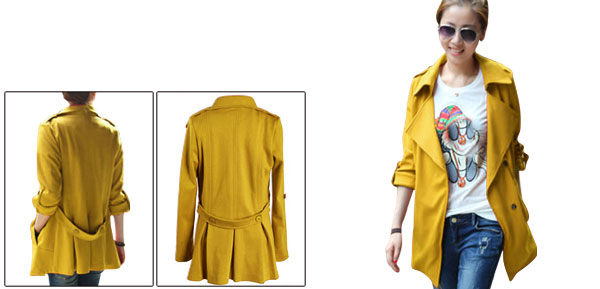 Lady Split Lapel Snap Button Leisure Yellow Jacket XS