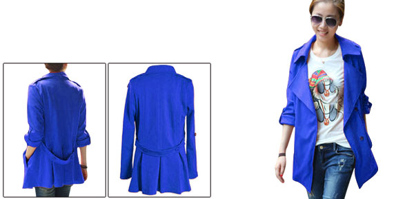 Lady Split Lapel Long-sleeved Button Closure Blue Jacket XS