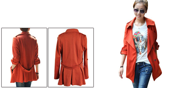 Lady Split Lapel Snap Button Closure Orange Red Jacket XS