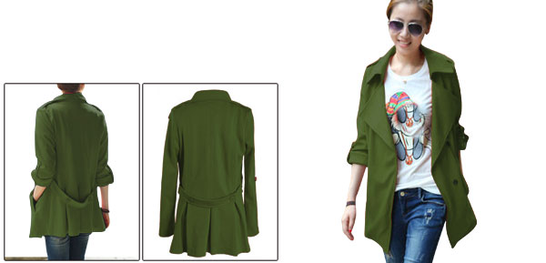 Lady Split Lapel Autumn Snap Button Army Green Jacket XS
