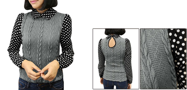 Lady Peter Pan Collar Dots Prints Sleeve Gray Black Knit Top XS