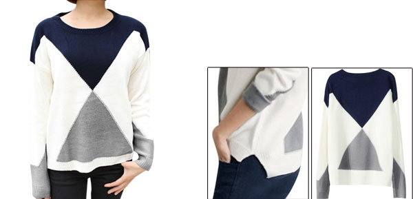 Women Round Neck Pullover Color Block Ribbed Spring Sweater White Navy Blue S