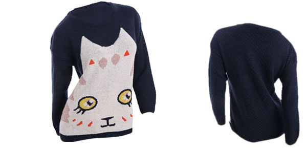 Women Pullover Long Sleeve Cat Pattern NEW Sweater Dark Blue XS
