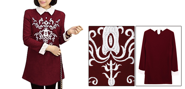Dark Red Women Long Sleeve Totem Embroidery Splice Casual Tunic Top XS