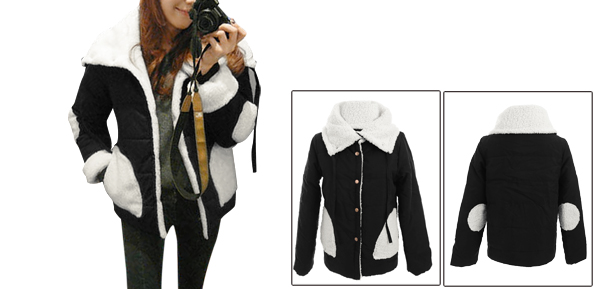 Lady Convertible Collar Snap Button Closure Black Reverible Padded Coat XS