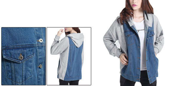 Women Hooded Denim Patchwork Dark Blue Gray Baseball Jacket S