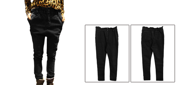 Women Elastic Waist Design Button Closed Black Harem Jeans Pants XS