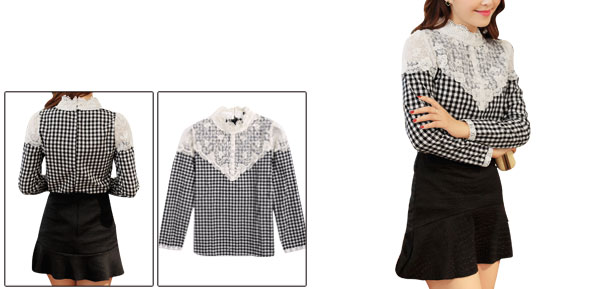 Woman Crochet Stand Collar Black White Check Pattern Casual Blouse S