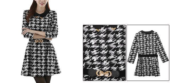 Women Black White Long Sleeve Metal Detail Collar Novelty Dress XS