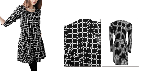 Laides Round Neck Plaids Pattern Black Skater Dress S
