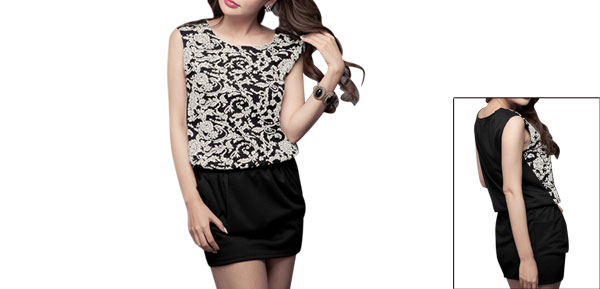 Women Pullover Flower Design Elastic Waist Two Pockets Dress Black White XS