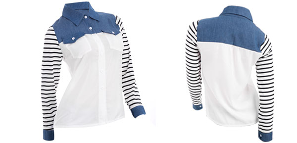 Women Button Up Stripes Long Sleeve Splice Pockets Semi Sheer Shirt Blue White S
