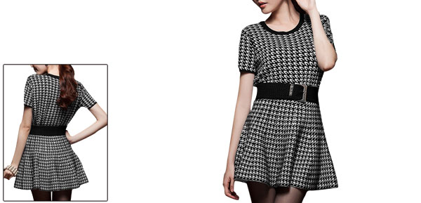 Lady Round Neck Houndstooth Prints Black White Dress w Belt XS