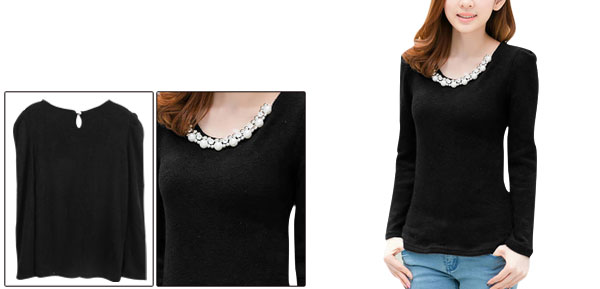 Lady Scoop Neck Long Sleeve Stretchy Pullover Black Knit Top S