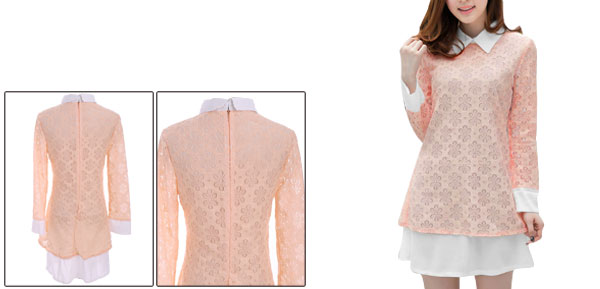Lady Peter Pan Collar Semi Sheer Long Sleeve Spliced Crochet Pink Dress XS